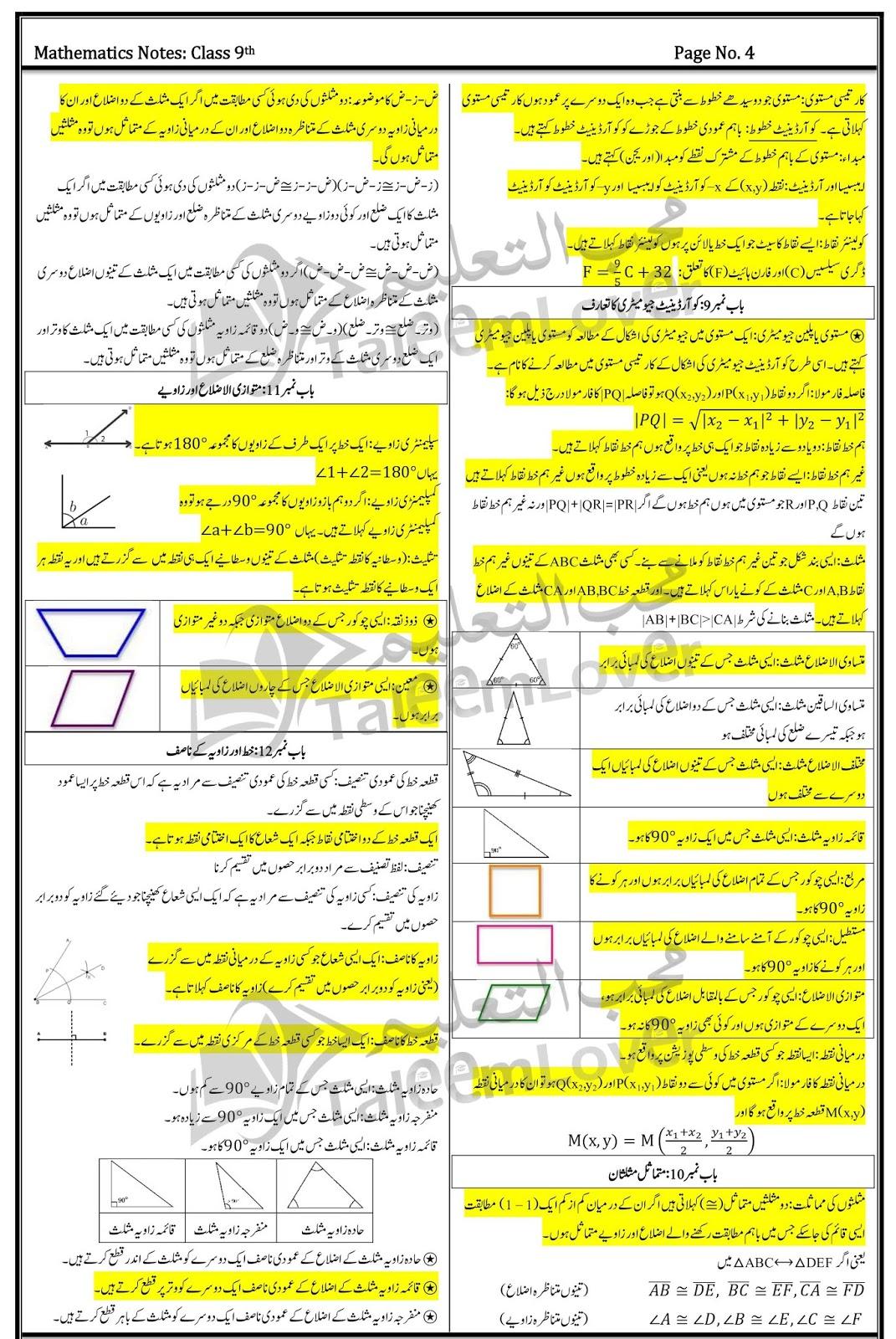 Math Definitions for 9th Class (Urdu Medium)    All Punjab Board