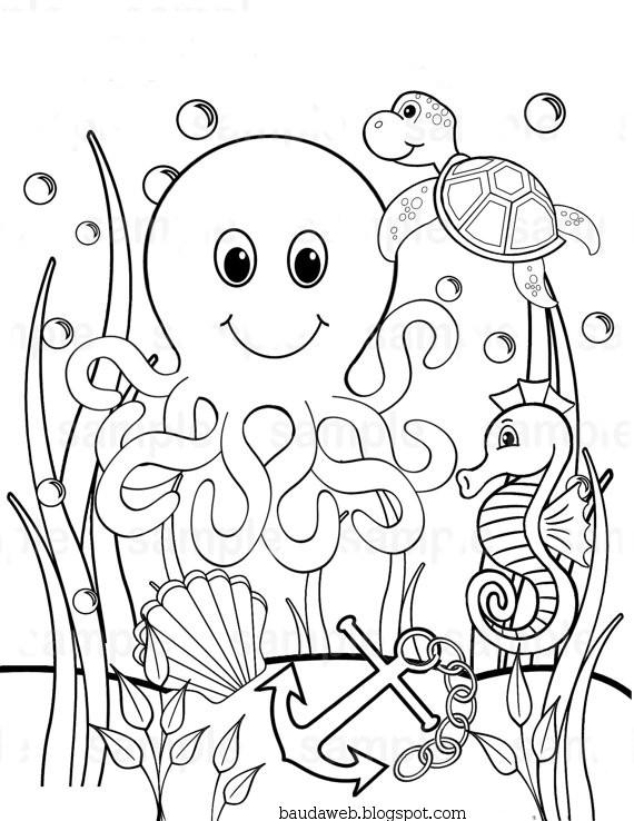 Bau Da Web Desenhos Fundo Do Mar Para Colorir