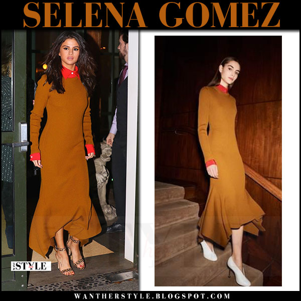 Selena Gomez in burnt orange knit dress victoria beckham what she wore