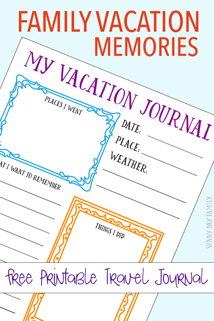 Capture your family vacation memories with a free printable journal page for kids! Create a DIY kids travel journal with this free printable - perfect for your next vacation!