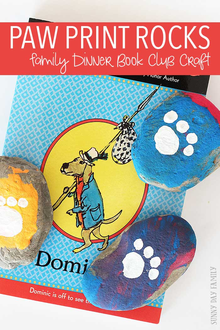 These painted paw print rocks are this month's Family Dinner Book Club craft! Inspired by the book Dominic, this fun rock craft for kids is also an easy paw print craft for dog lovers of all ages.
