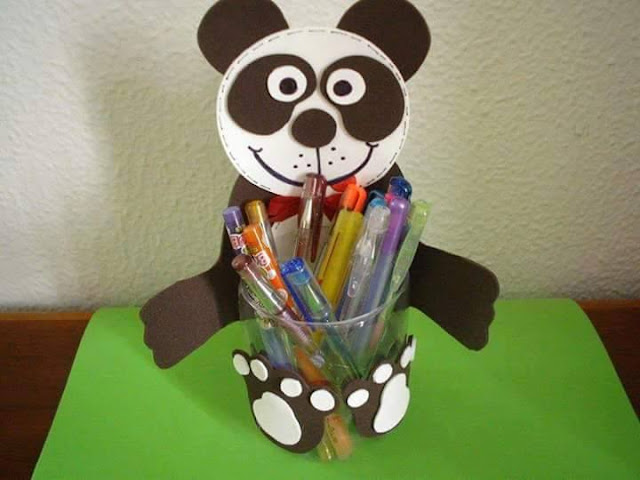 Idea to make something from bottle for kids : panda pencil case