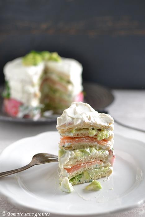 Sandwich cake au saumon fumé et à l'avocat