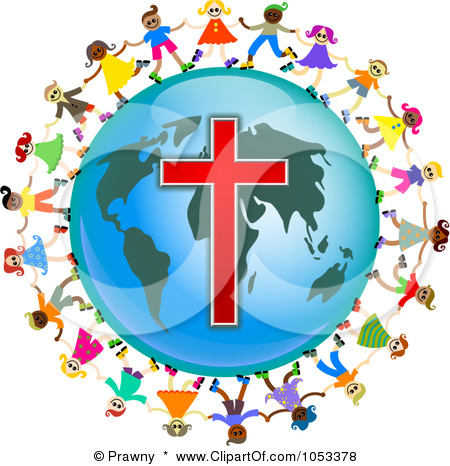 Free Clip Art Illustration Christian Kids Holding Hands Around Globe With Cross