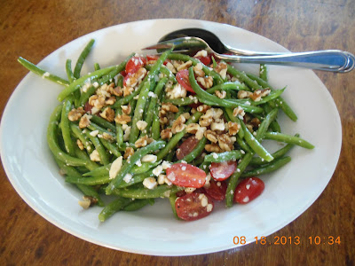 Fresh Green Bean Salad with Tomatoes Feta and Toasted Walnuts