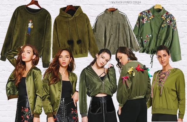 casacos verde militar  zaful
