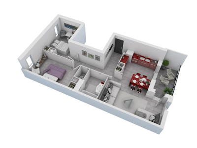 great two bedroom 3d floor plans with L-shaped kitchen