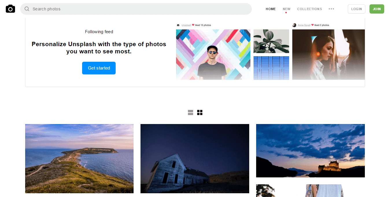 Unsplash Main Page free HD stock images visualartzi