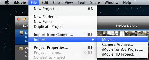import converted mov to imovie