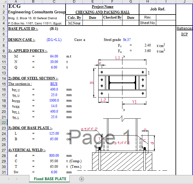 fixed steel column base design