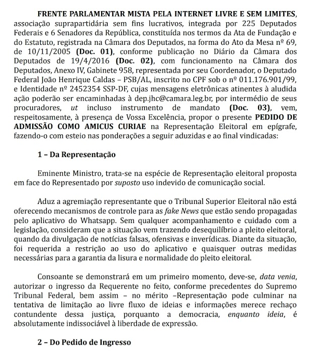 Frente Parlamentar pela Internet Livre vai ao TSE contra PSOL