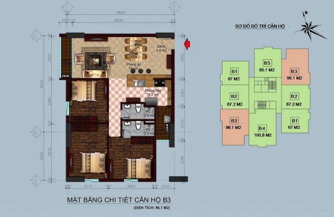 Mặt bằng căn hộ 96m2 Chung cư tòa B1 B2 Linh Đàm - Hud2