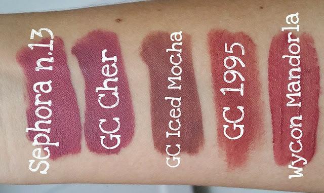 swatches comparison gerard cosmetics hydra matte liquid lipstick cher iced mocha 1995 sephora marvelous mauve