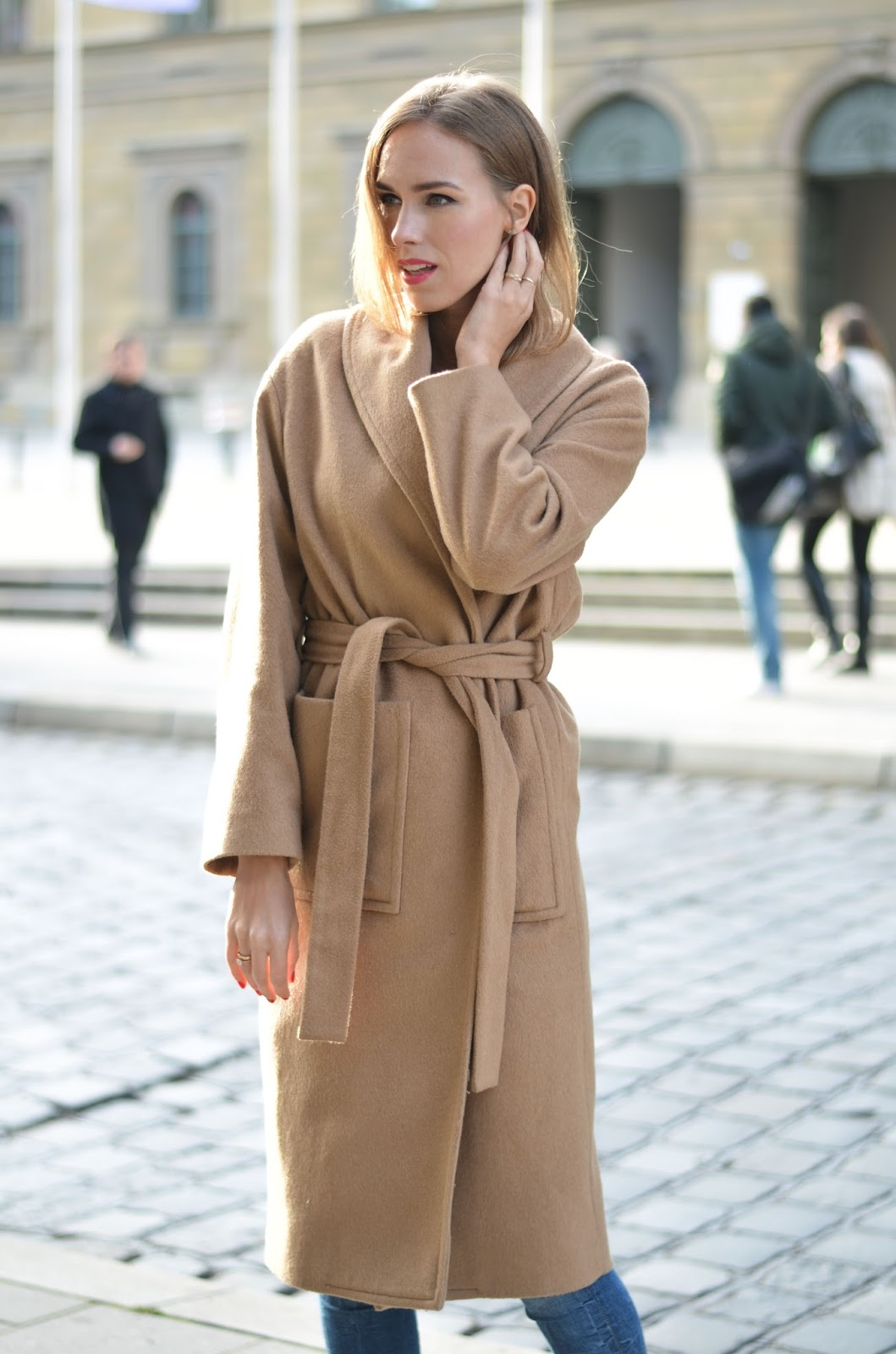 kristjaana mere mango belted camel coat winter outfit