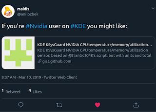 Tweet announcing nvidia-gpu-sensor.pl - An Nvidia Sensor For KDE Plasma