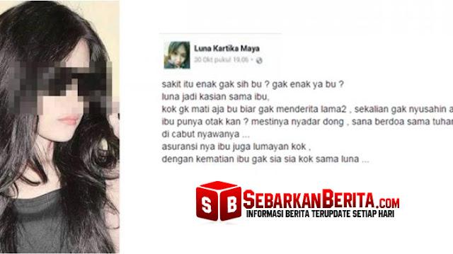 Bikin Status Doakan Ibunya yang Sakit Segera Meninggal karena Nyusahin, Akun FB Wanita ini Bikin Netizen Geram.