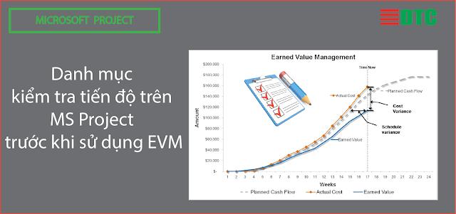 Danh mục kiểm tra tiến độ trên MS Project trước khi sử dụng EVM