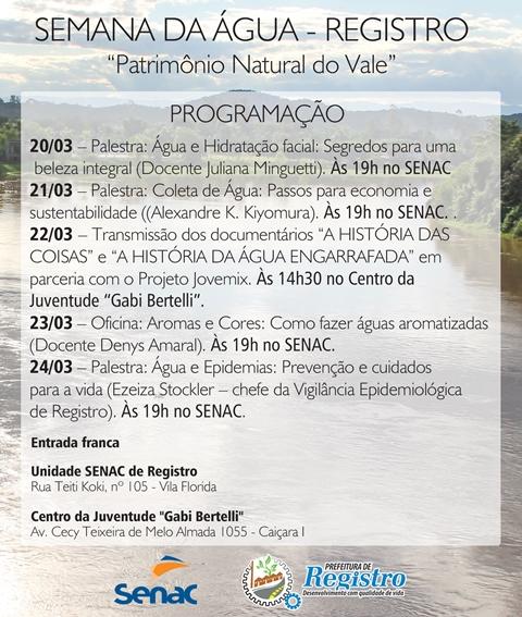 Prefeitura e Senac Registro-SP promovem programação especial na Semana da Água