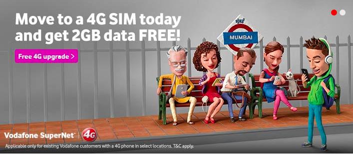 vodafone free 2GB 4G data offer