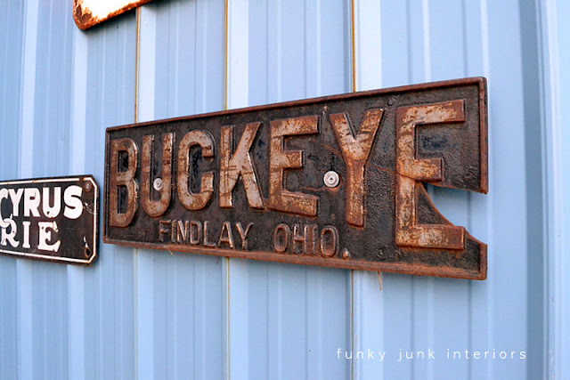 Antique Buckeye sign / Junkin' day at Granny and Grumpa's Antiques in Abbotsford, BC via FunkyJunkInteriors.net