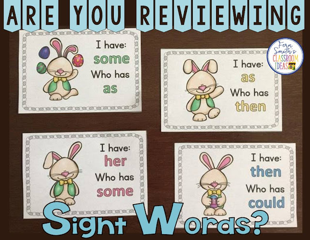 Just perfect for Easter and Spring in your classroom, whole class lessons or small group remediation, your students will love this! I Have, Who Has? Easter Sight Words for First Grade Cards, Teacher Directions and a Teacher Answer Key. Includes: 1 Teacher Direction Sheet 1 Teacher Answer Key 24 Cards with Cute Easter Clipart. Terrific for an Emergency Substitute Tub, Folder or Binder. #FernSmithsClassroomIdeas