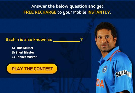Play Any Contest and Win Free Recharge to your mobile