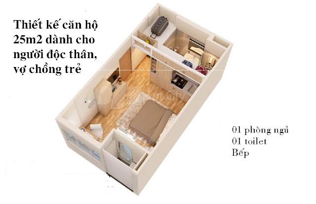 Thiết kế căn hộ 25m2 dành cho người độc thân, đôi vợ chồng trẻ