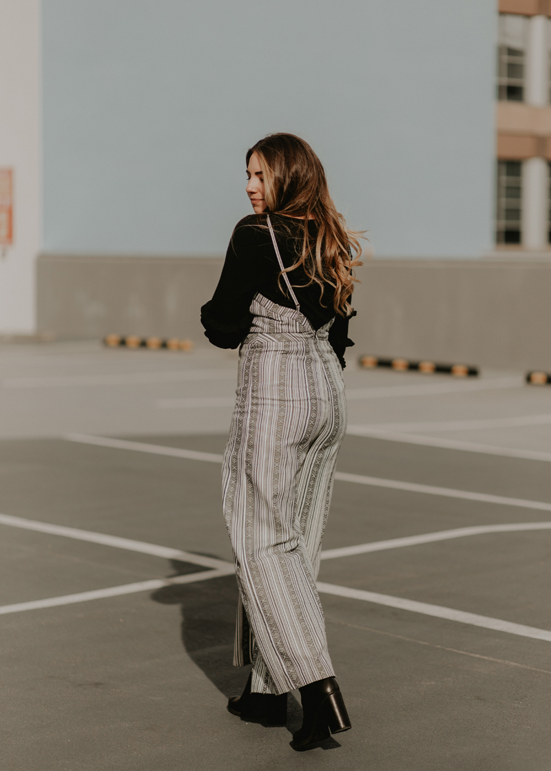 jumpsuit, striped outfit, winter to spring outfit