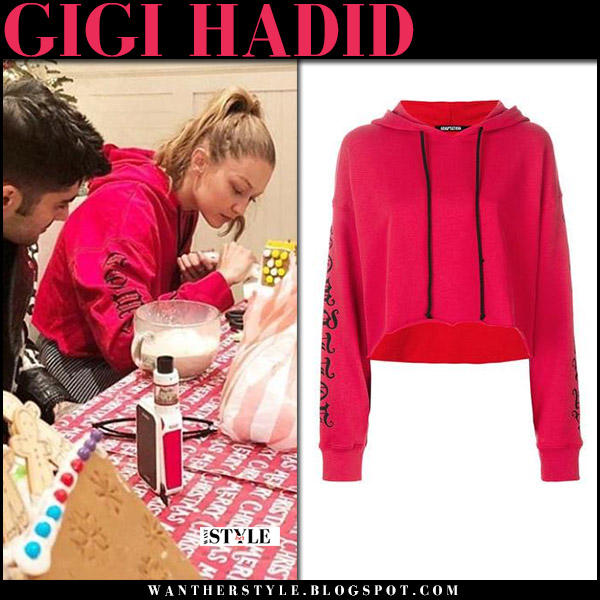 Gigi Hadid in bright red hoodie with Zayn on Christmas Eve december 24 holiday winter fashion