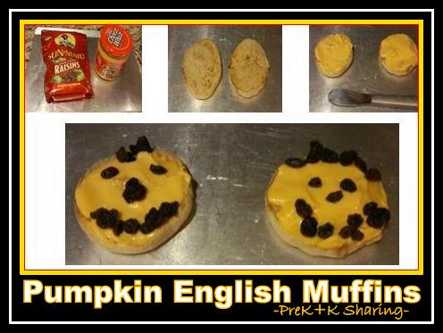 photo of: English Muffin Jack-o-Lanterns via MaryJo Huff at PreK+K Sharing