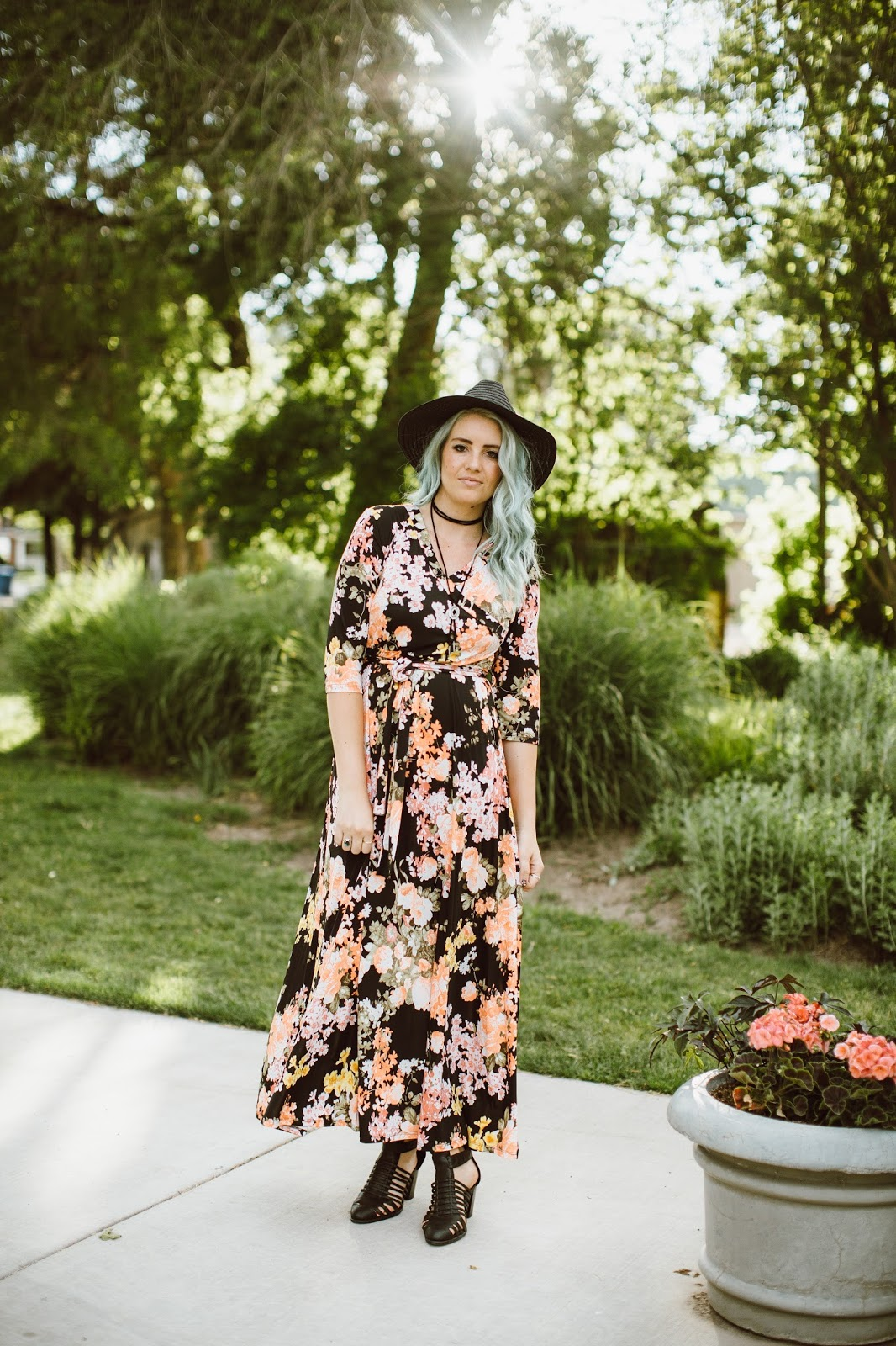 Long Floral Dress, Utah Fashion Blogger, Choker Necklace