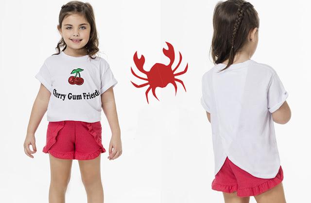 Shorts  y remeras primavera verano 2018 para niñas. Moda infantil primavera verano 2018.