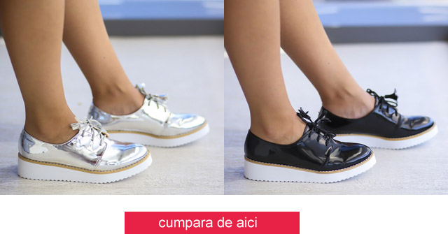 Pantofi casual dama lacuiti ieftini la moda negri, argintii online