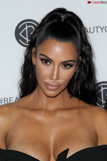 Kim Kardashian Huge  in Black Deep Neck Top Must see August 2018 004