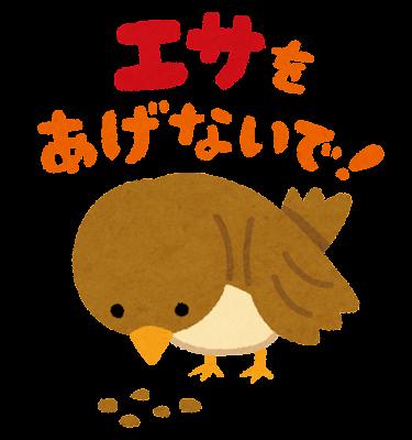 「エサをあげないで」のイラスト(鳥)