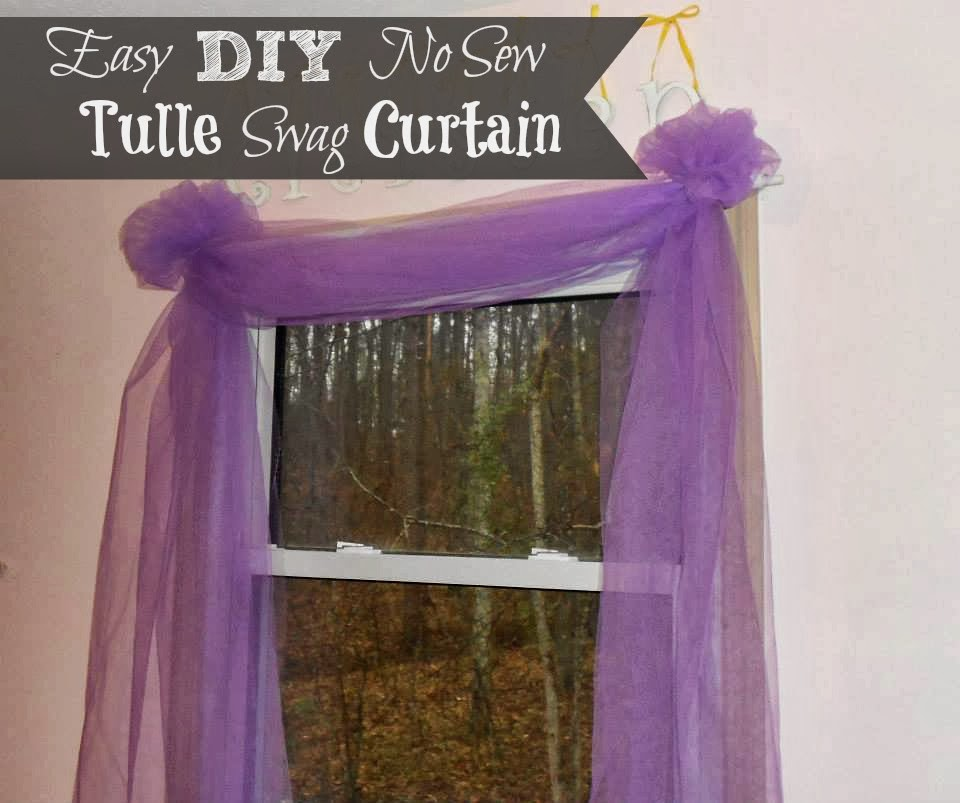 diy easy no sew tulle swag curtain outnumbered 3 to 1. Black Bedroom Furniture Sets. Home Design Ideas
