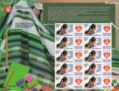 Filatelia, correos, sello, pliego premium, Manos Unidas, Ong, donativio
