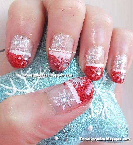 Christmas Snow Flake Nails