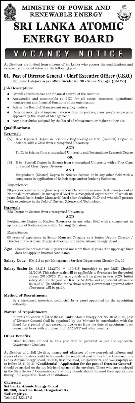 director general chief executive officer c e o sri lanka sri lankan government job vacancies at sri lanka atomic energy board ministry of power and