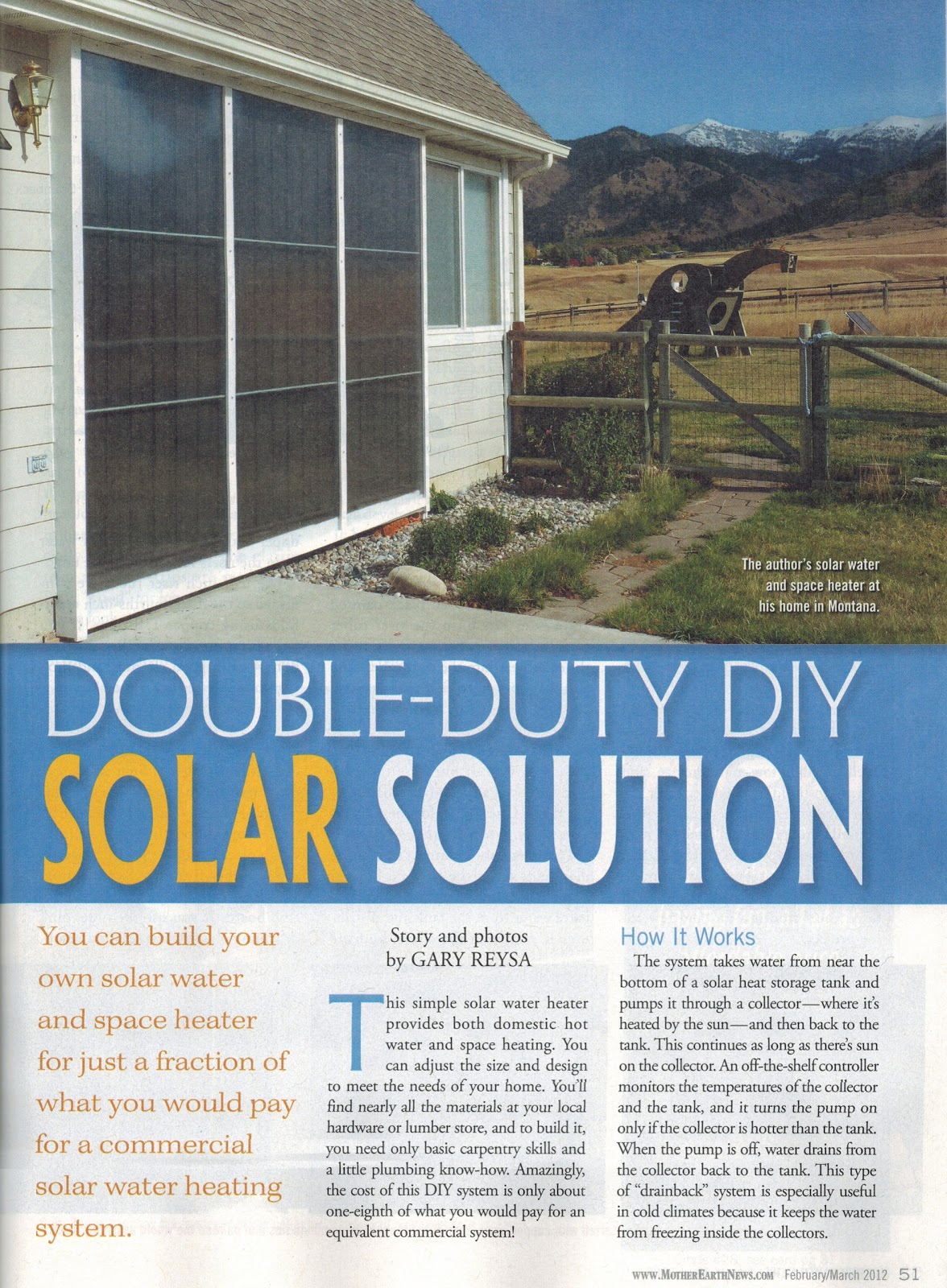 Mother Earth News Article on Our Solar Water and Space Heating System