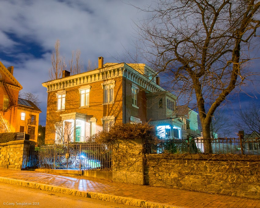 Portland, Maine USA April 2018 photo by Corey Templeton. Nighttime view of the stately Carroll Mansion on Park Street.