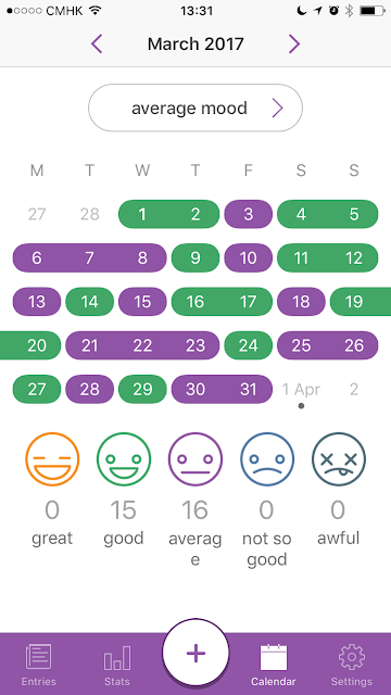 Daylio mood tracker app screenshot