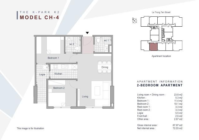 Căn 04 - 67.97m2 - 2 phòng ngủ (BC Tây Nam)