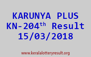KARUNYA PLUS Lottery KN 204 Results 15-03-2018