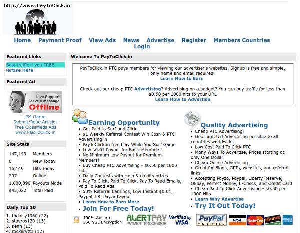Captura de pantalla de PTC Paytoclick con un mal diseño