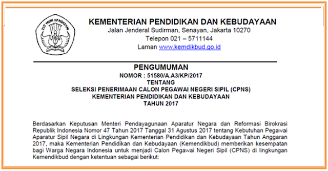 Formasi Penerimaan CPNS Kemdikbud 2017