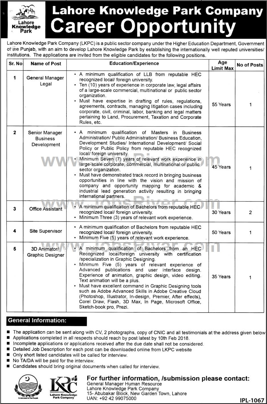 Jobs In Lahore Knowledge Park January 2018