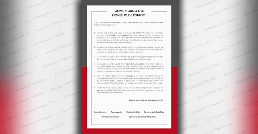 PRONUNCIAMIENTO DEL CONSEJO DE ESTADO: A través de un comunicado consideran necesario un debate amplio sobre inmunidad