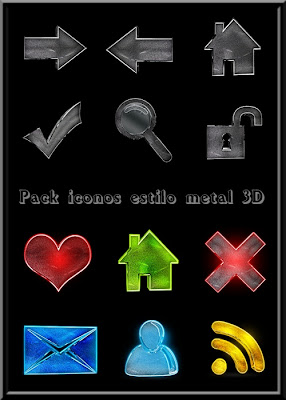 Pack iconos estilo metal 3D