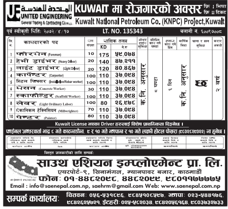 Job Vacancy in Kuwait National Petroleum Company. Salary Up to Rs 59,078